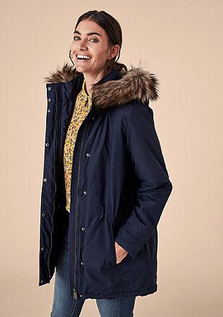 Vatovaná bunda saplikací zimitace kožešiny
