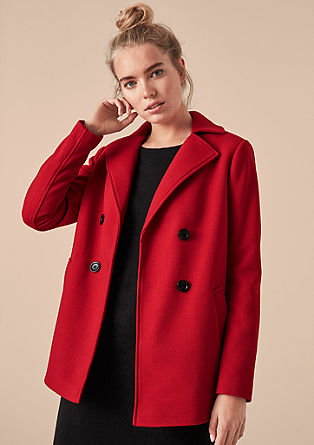 Double-breasted textured pea coat from s.Oliver