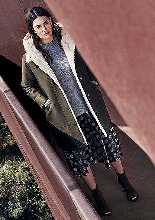 Hooded short coat with teddy bear fur lining from s.Oliver