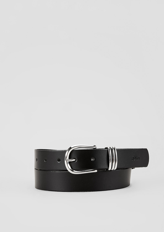 s.Oliver - Matter Ledergürtel mit Ringen - 1
