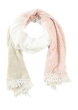 Patchwork-Schal mit Fransen