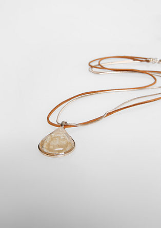 Ogrlica iz kombinacije materialov z naravnim kamnom