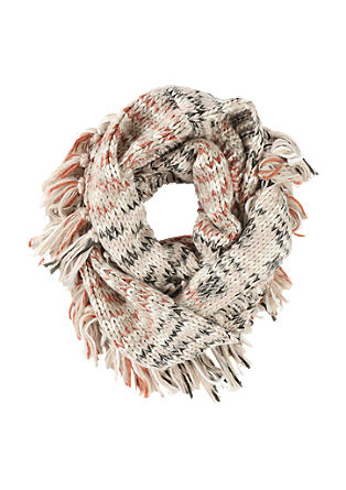 Chunky knit snood with fringing from s.Oliver