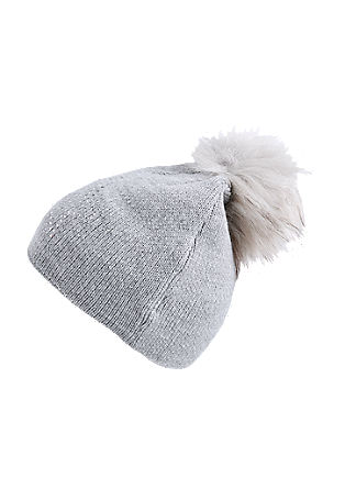 Fine knit hat with fake fur from s.Oliver