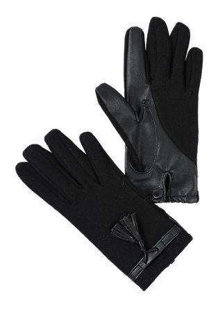 Gloves with imitation leather details from s.Oliver