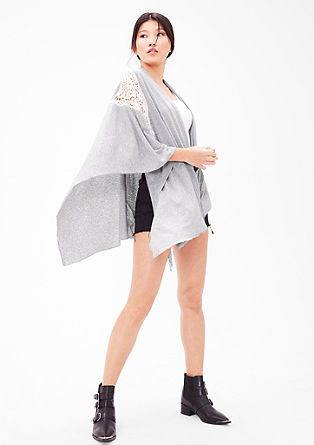 Jersey poncho with lace from s.Oliver