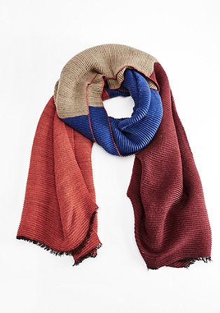 Crinkle-Schal mit Farbflächen