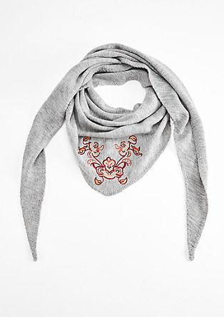 Driehoekige sjaal met bloemenborduursel