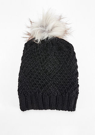 Chunky knit hat with fake fur from s.Oliver