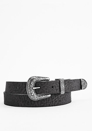 Cowboy style leather belt from s.Oliver