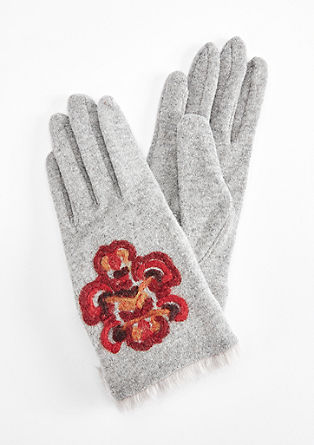 Gloves with felt embroidery from s.Oliver