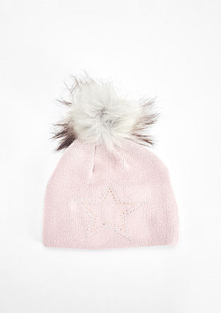 Fine knit hat with rhinestones from s.Oliver