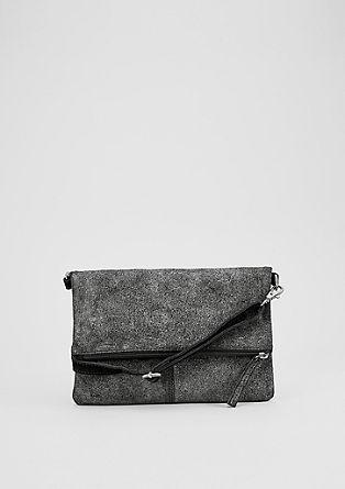 Clutch torbica kovinskega videza iz velurnega usnja