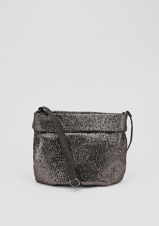 Metallic shoulder bag met omslag