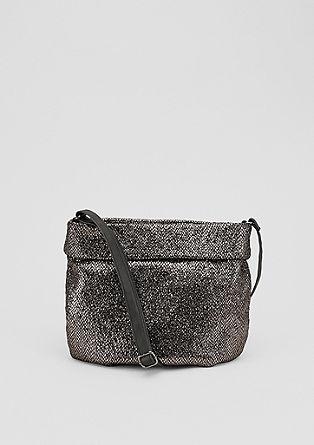 Metallic-Shoulder Bag mit Umschlag