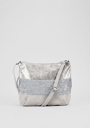 Shoulder Bag mit Pailletten-Besatz