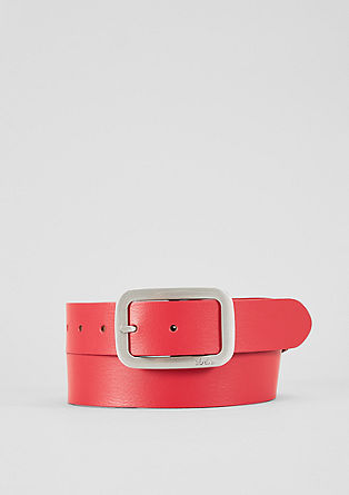 Leather belt with a metal buckle