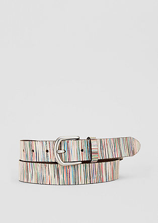 Leather belt with a bright pattern from s.Oliver