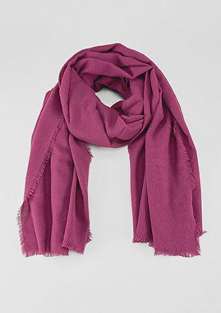 Extra grote, geweven sjaal met franjes