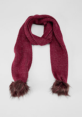 Knit scarf with faux fur pompoms from s.Oliver