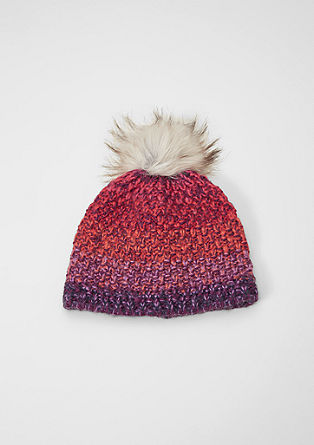 Hat with faux fur pompom from s.Oliver