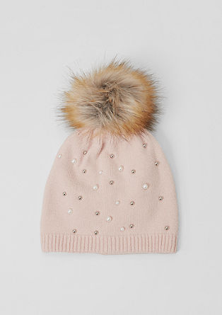 Knit hat with appliqués from s.Oliver