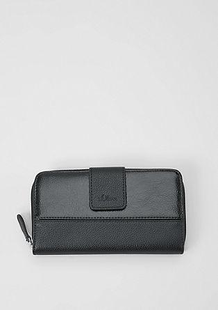 Extra grote portemonnee met rits, van een materiaalmix
