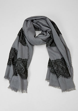 Scarf with lace trim from s.Oliver