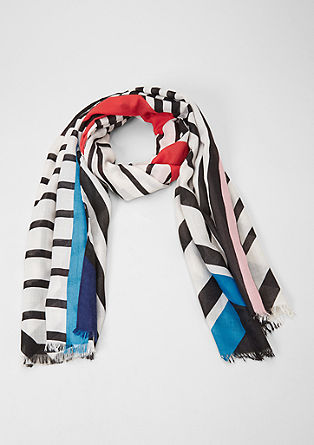 Woven scarf with a graphic print from s.Oliver