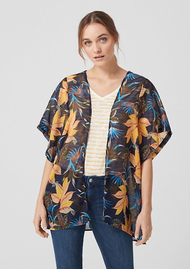 Delicate woven poncho with a print from s.Oliver