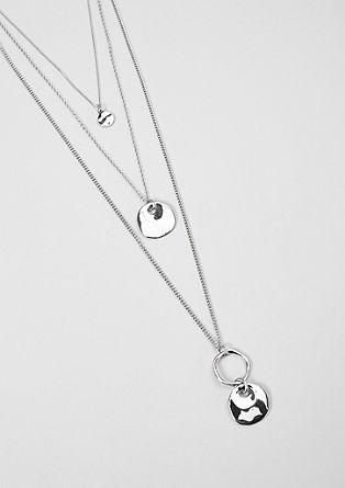 Collier sur trois rangs à plaquettes en métal de s.Oliver