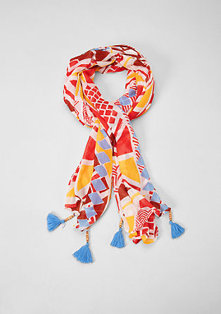 Patterned scarf with tassels from s.Oliver