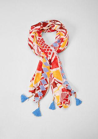 Sjaal met motief en kwasten