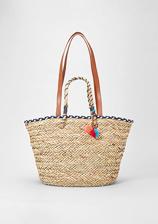 Large straw bag with pompoms from s.Oliver