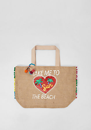 Jute beach bag with appliqués from s.Oliver