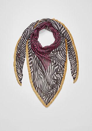 Trojcípý šátek s roztřepeným prýmkem