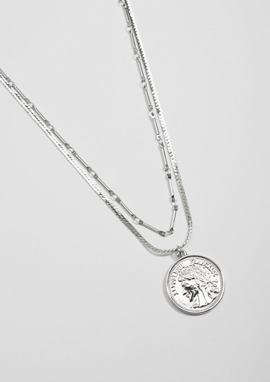 Two-strand necklace with a coin pendant from s.Oliver