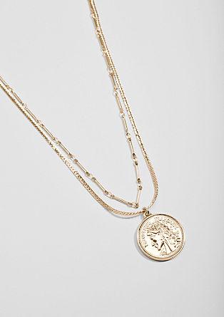 Collier à deux rangs orné d'un pendentif médaillon de s.Oliver