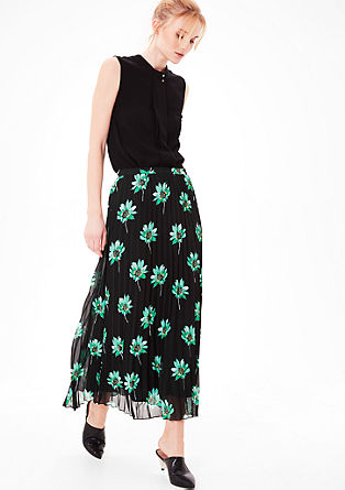 Pleated skirt with a floral print from s.Oliver