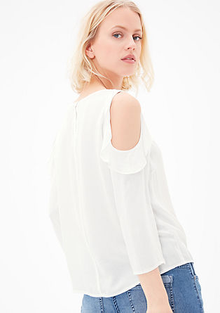 Off shoulder-blouse met ruches