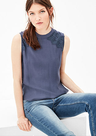 Blouse top with a lace trim from s.Oliver