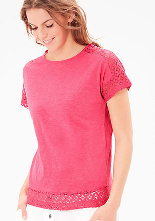 Slub yarn T-shirt with a lace border from s.Oliver