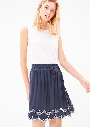 Skirt with an embroidered hem from s.Oliver