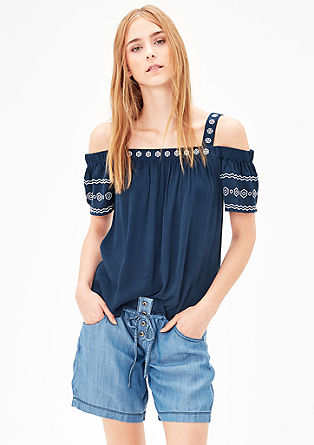 Off Shoulder-Bluse im Ethno-Look
