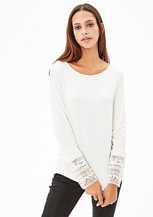 Long sleeve top with delicate lace from s.Oliver