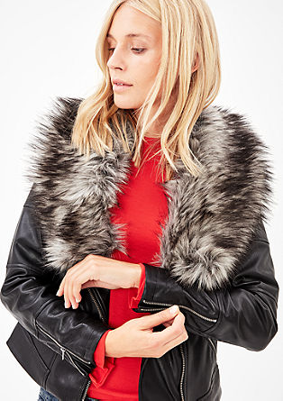 Biker jacket with a faux fur collar from s.Oliver