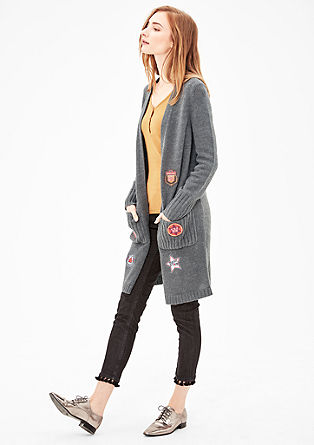Knitted coat with patches from s.Oliver