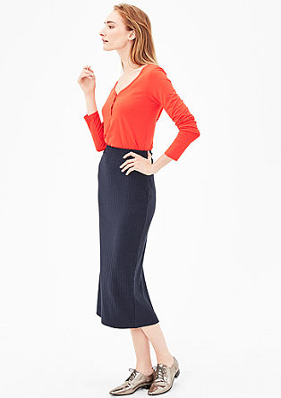 Midi skirt with wide ribbing from s.Oliver