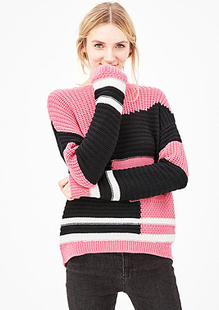Colourblocking-Pulli mit Struktur