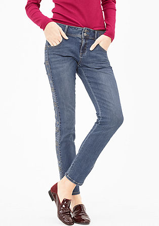 Ankle-Denim mit Embroidery-Blende